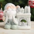 """Подсвечник керамика """"Дедушка Мороз с фонариком у камина"""" серебро 10,5х11,5х6,5 см"""