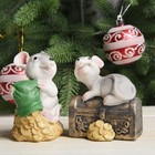 "Polyresin piggy ""gray rat on the chest/gold"" MIX 9,5х7х8,5 cm"