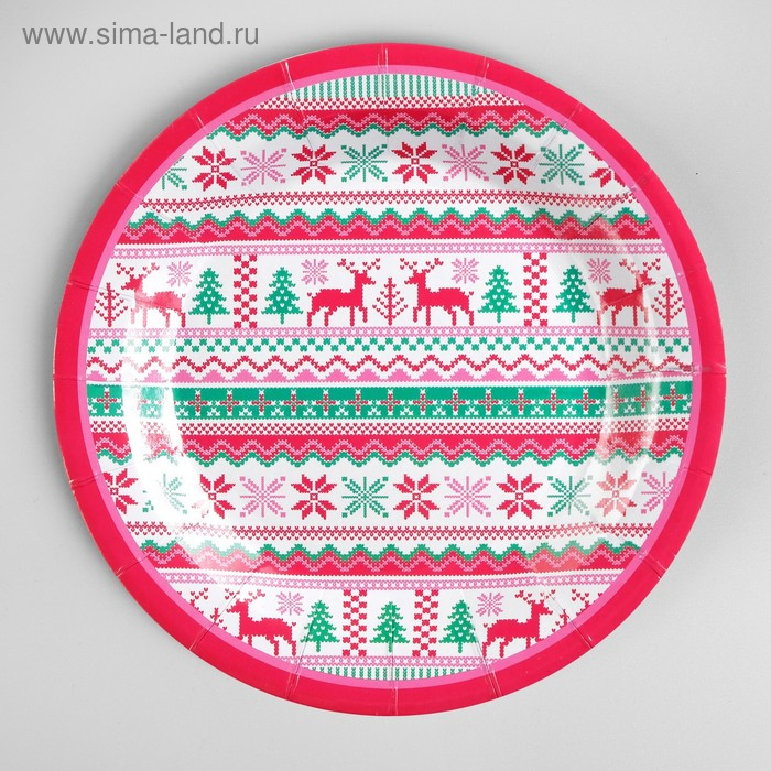 """Paper plate """"Deers with snowflakes"""" set of 6 PCs"""
