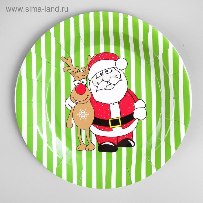 "Plate paper ""Santa Claus with Deer"" set of 6 PCs"