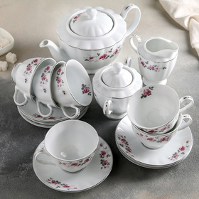 """Сервиз чайный на 6 персон """"Серая роза"""", 17 предметов"""