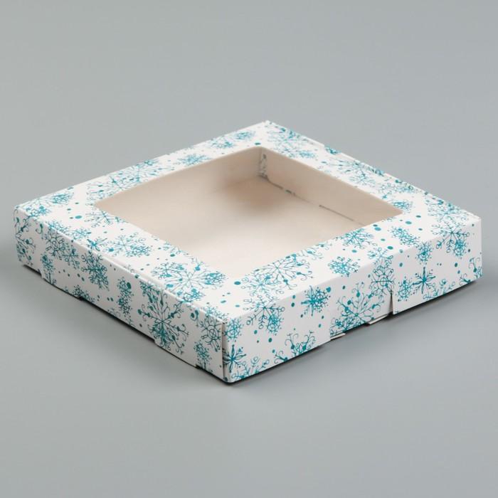 "Коробка самосборная бесклеевая, ""Снежинки"", 16 х 16 х 3 см"