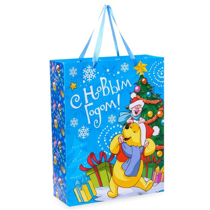 Пакет подарочный ламинированный «С Новым Годом!», Медвежонок Винни, 31 х 40 х 11 см