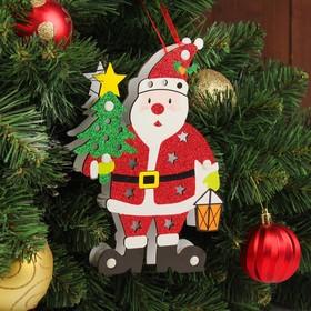 """Декор с подсветкой """"Дед мороз с ёлкой"""" 2,2×14×20 см"""