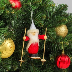 Игрушка-подвеска «Дед Мороз лыжник» 4×9,5×14 см