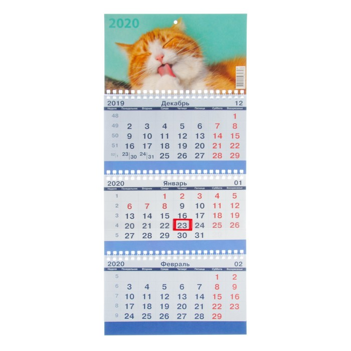 "Календарь квартальный, трио ""Коты-3"" 2020 год, 20х47см"