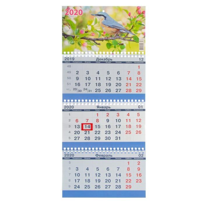 """Календарь квартальный, трио """"Цветы-6"""" 2020 год, 20х47см - фото 370373987"""