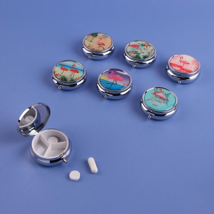 Таблетница «Фламинго», с зеркальной поверхностью, 3 секции, цвет МИКС