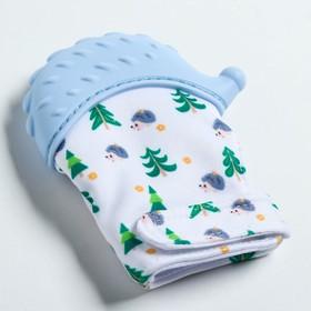 Прорезыватель рукавичка «Ежик», на липучке, цвет МИКС