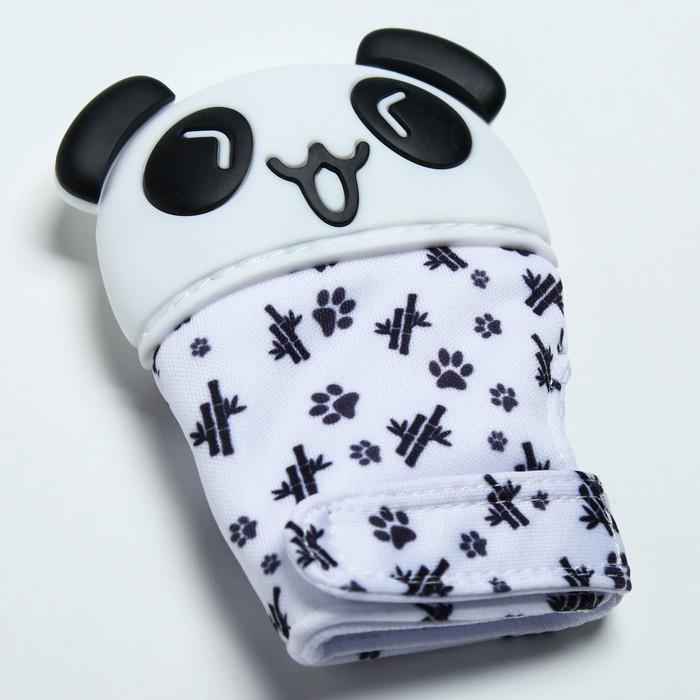 Прорезыватель рукавичка «Панда», на липучке - фото 76135541