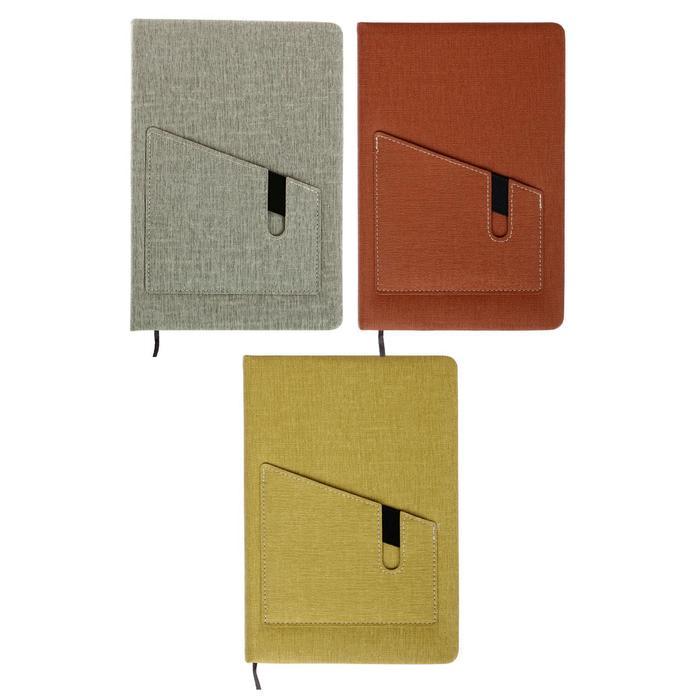 Ежедневник недатированный формат А5, 80 листов, линия, обложка пвх, с карманом, МИКС - фото 282123133