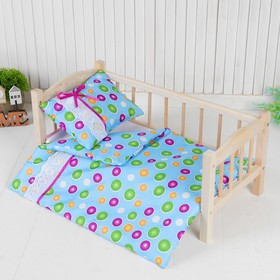 Постельное бельё для кукол «Горох на голубом», простынь, одеяло, подушка