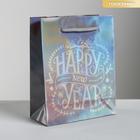 Пакет голографический вертикальный Happy New Year, S 12 x 15 × 5.5 см