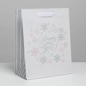 Пакет крафтовый вертикальный Happy new year!, 12 × 15 × 5,5 см