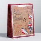 Пакет вертикальный крафтовый «С Новым  годом!», 23 х 27 х 8 см
