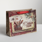 Пакет горизонтальный крафтовый «С Новым Годом», 23 х 18 х 8 см