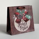 Пакет ламинированный квадратный «Новогоднее поздравление», 22 × 22 × 11 см
