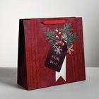 Пакет ламинированный квадратный «Новогоднее поздравление», 30 × 30 × 12 см