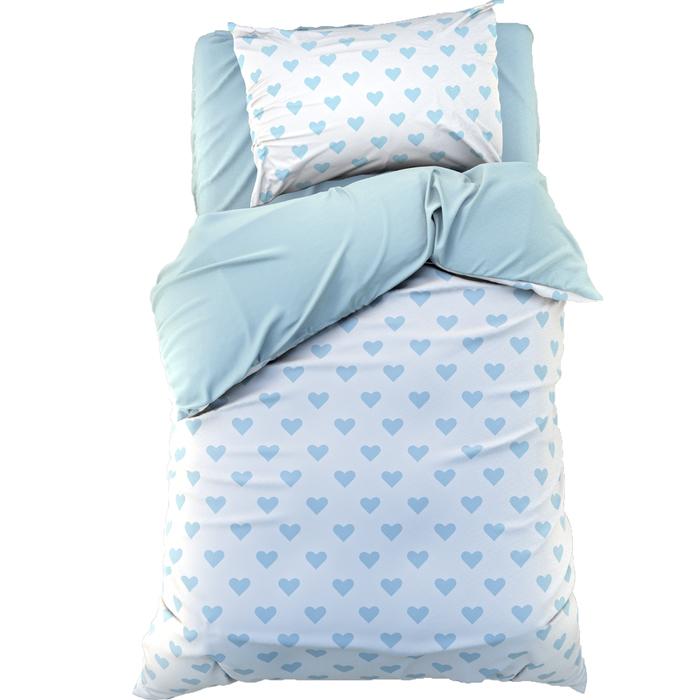 Постельное бельё «Этель» 1,5 сп Голубые сердечки 143х215 см, 150х214 см, 50х70 см -1 шт, 100% хл, бязь