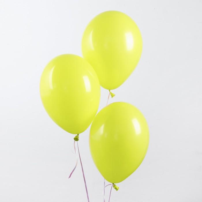 """Шар латексный 12"""", пастель, набор 100 шт., цвет лимонный - фото 955722"""