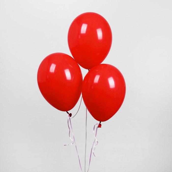 """Шар латексный 10"""", пастель, набор 50 шт., цвет красный - фото 179061483"""
