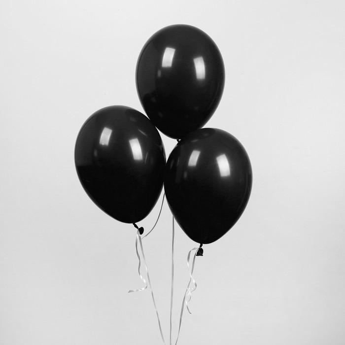 """Шар латексный 10"""", пастель, набор 50 шт., цвет чёрный - фото 281434281"""