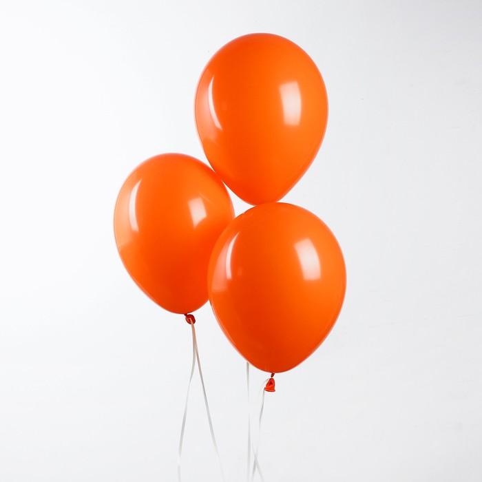 """Шар латексный 10"""", пастель, набор 50 шт., цвет оранжевый - фото 308470687"""