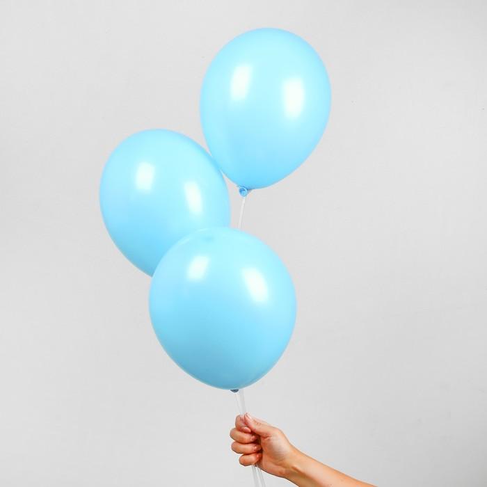 """Шар латексный 10"""", пастель, набор 50 шт., цвет светло-голубой - фото 308470701"""