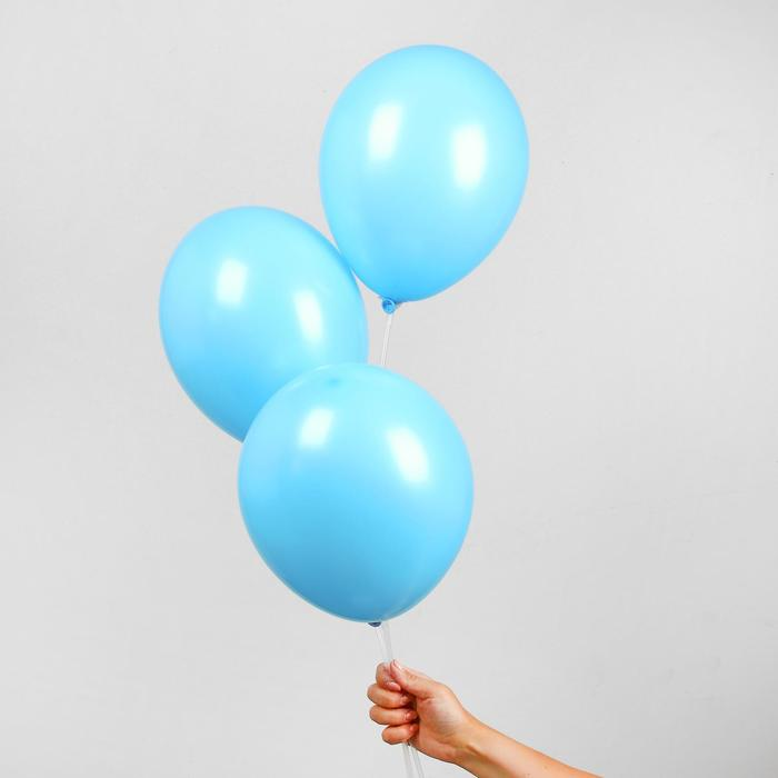 """Шар латексный 12"""", пастель, набор 25 шт., цвет голубой - фото 955830"""