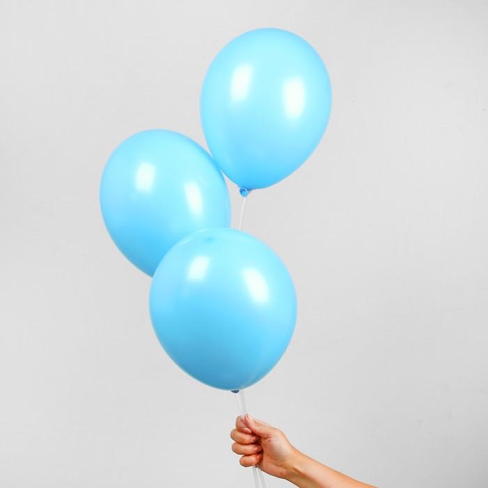 """Шар латексный 10"""", пастель, набор 25 шт., цвет голубой - фото 308470776"""