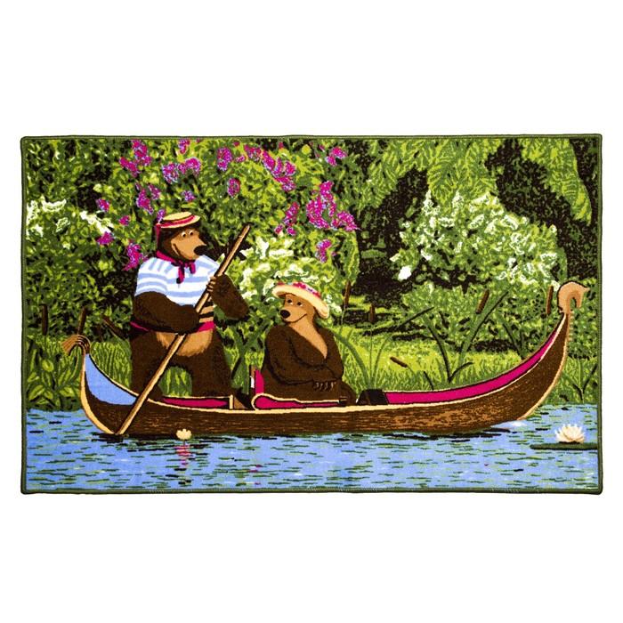 Ковер велюровый «Маша и Медведь на лодке», 100х150 см, зелёный