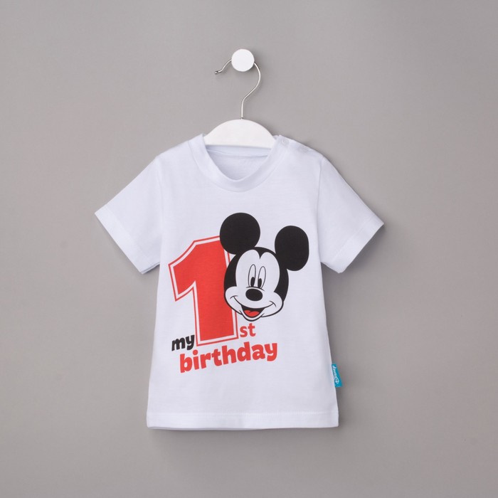 "Футболка Disney ""My 1st Birthday"", Микки Маус, белая, р.26, рост 74-80см СОРТ 2"