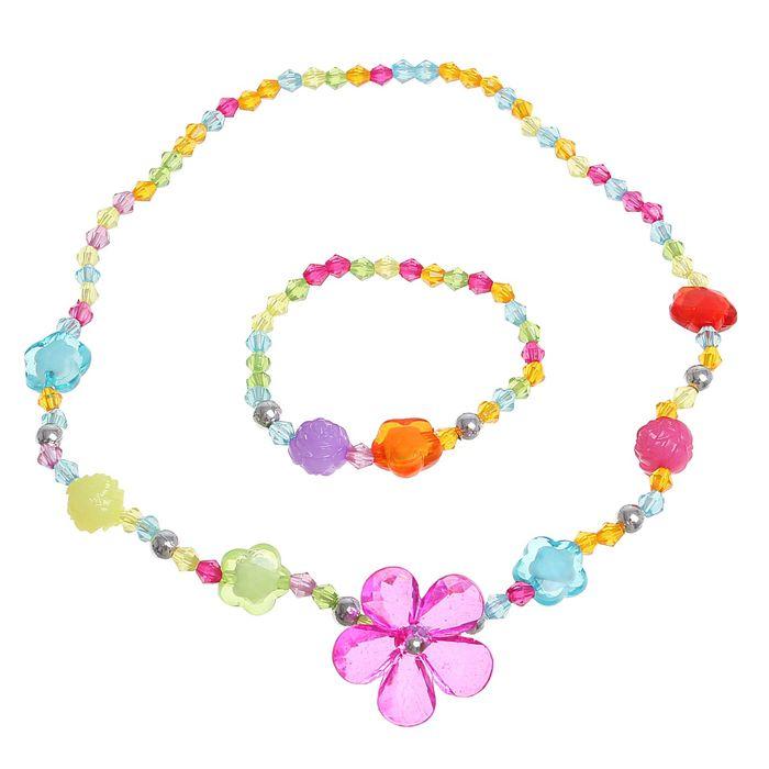 """Набор детский """"Выбражулька"""" 2 предмета: кулон, браслет, цветочек прозрачный, цвет МИКС"""
