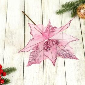 """Декор """"Зимний цветок"""" 21*19 см кантик малиновый"""