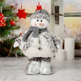 """Мягкая игрушка """"Снеговик с шарфом"""" 19*55 см (в сложенном виде 37 см) серый"""