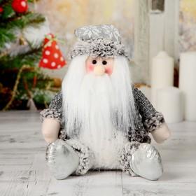 """Мягкая игрушка """"Дед Мороз с бубенчиком"""" 14*24 см серый"""