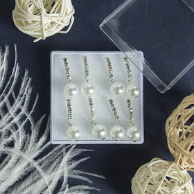 """Studs set in box set of 4 pairs """"Lumion"""" one track, color white silver"""