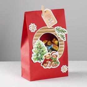 Пакет подарочный «Мишки под ёлкой», набор для создания, 15.5 × 28.5 см