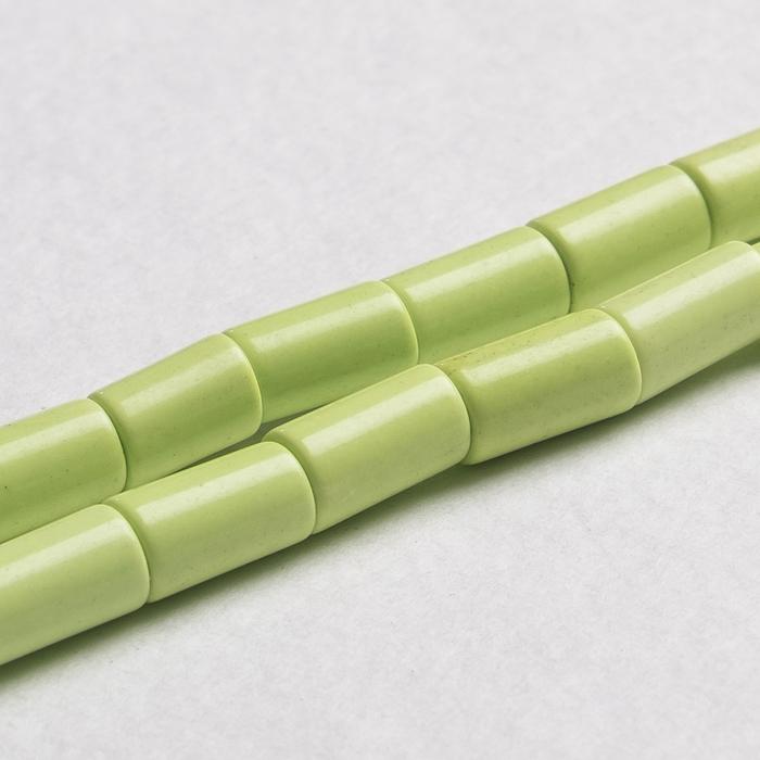 """Бусины цилиндр """"Бирюза иранская"""" (34 бусины), цвет зелёный"""