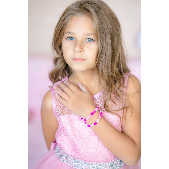 """Браслет детский """"Выбражулька"""" бабочки, 2 нити, цвет бело-розовый"""