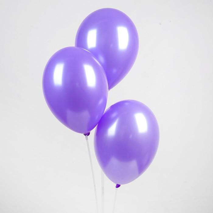 """Шар латексный 12"""", металл, набор 100 шт., цвет фиолетовый - фото 956006"""