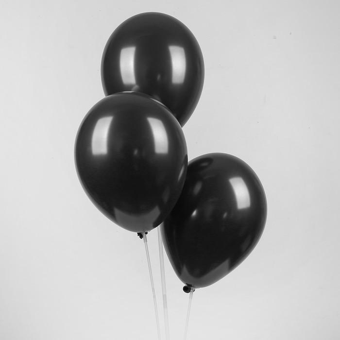 """Шар латексный 12"""", металл, набор 50 шт., цвет чёрный - фото 133683747"""