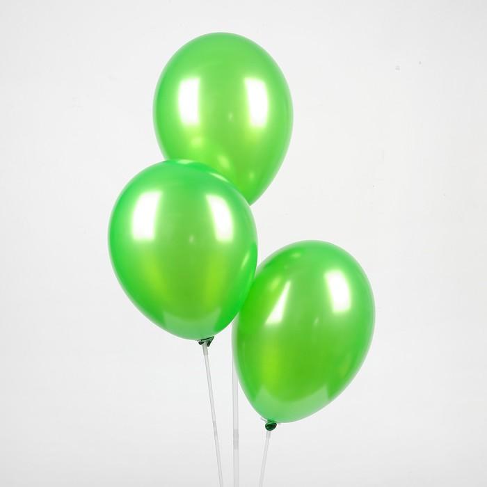 """Шар латексный 10"""", металл, набор 25 шт., цвет зелёный - фото 308470083"""