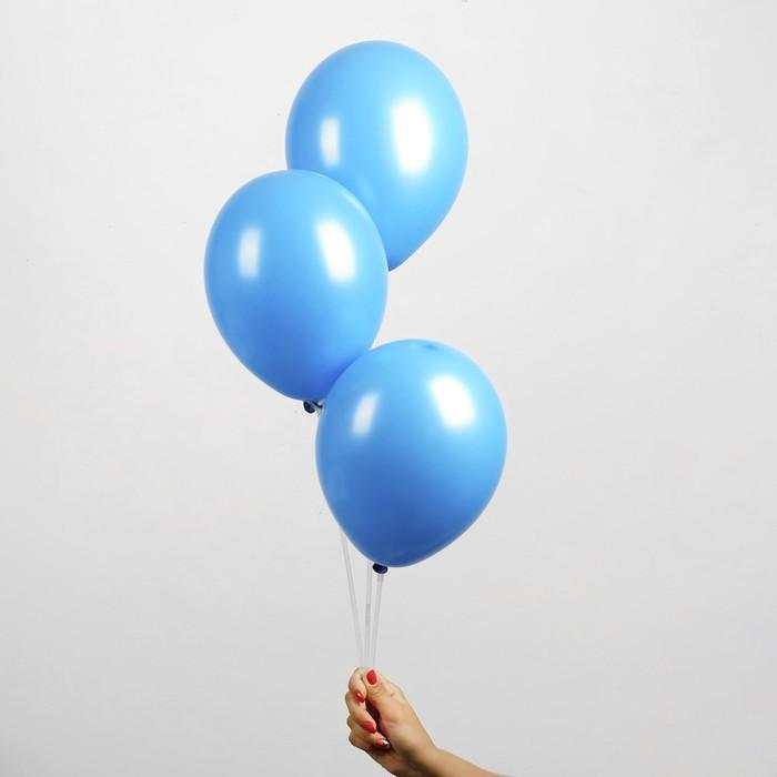"""Шар латексный 14"""", металл, набор 50 шт., цвет синий - фото 308471100"""