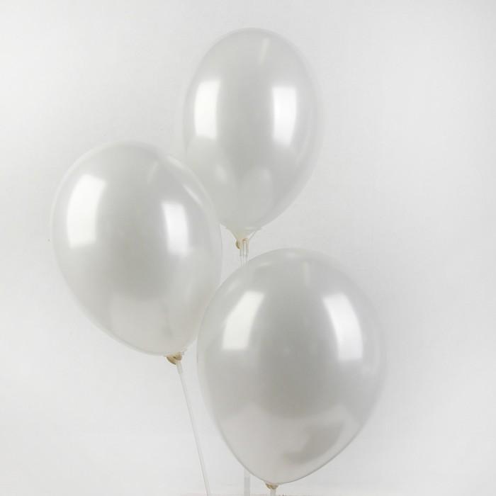 """Шар латексный 14"""", металл, набор 25 шт., цвет белый - фото 308471106"""