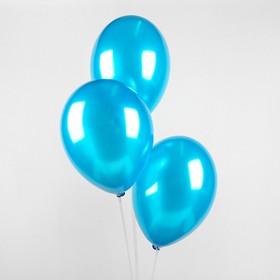 """Шар латексный 14"""", металл, набор 25 шт., цвет голубой"""