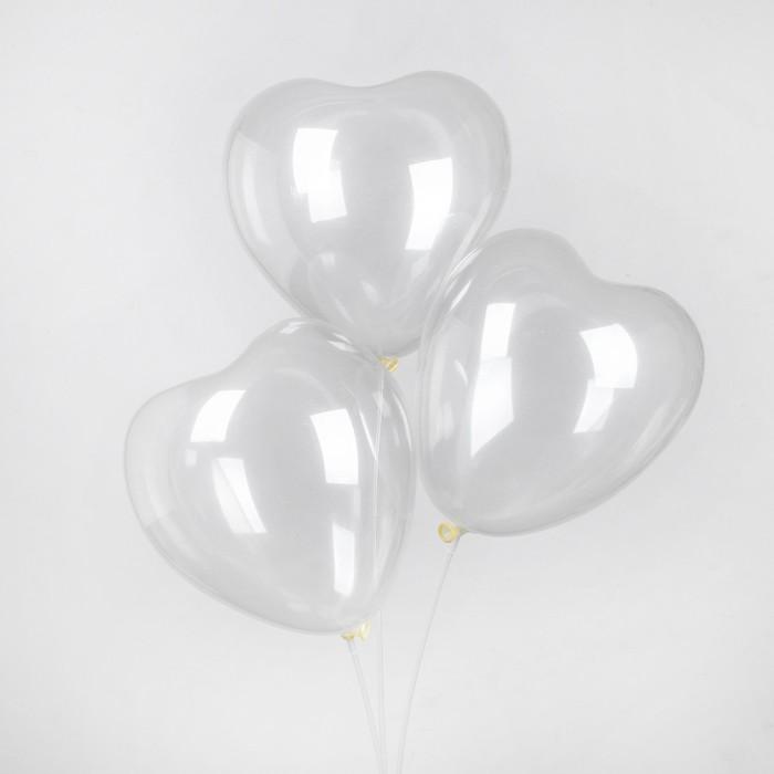 """Шар латексный 12"""", сердце, пастель, набор 25 шт., цвет прозрачный - фото 308471130"""