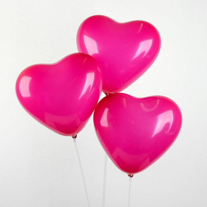 """Шар латексный 12"""", сердце, пастель, набор 25 шт., цвет фуксии - фото 308471133"""