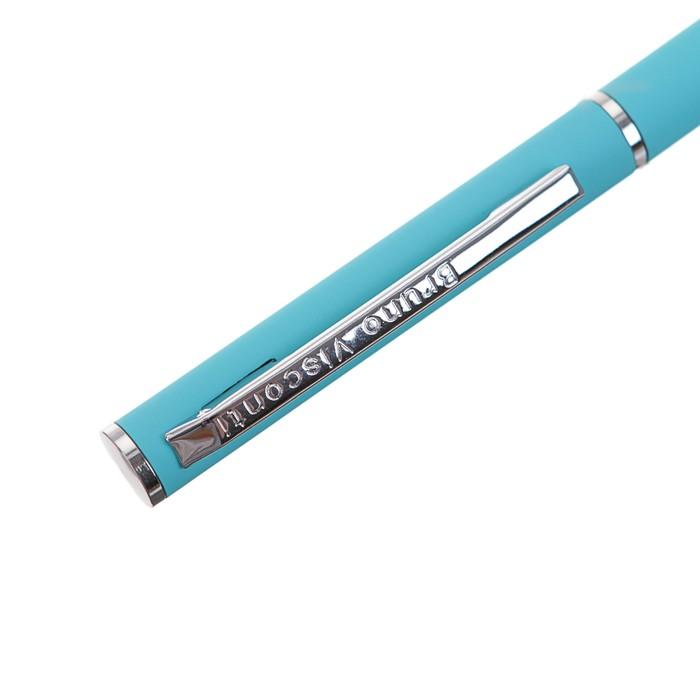 Ручка шариковая поворотная BrunoVisconti. Palermo, узел 0.7 мм, синий стержень, в металлическом корпусе, бирюзовая - фото 373643341
