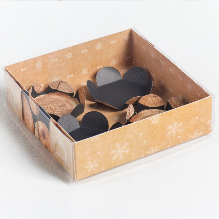 Коробка для макарун с подложками For you, 12 × 12 × 3 см